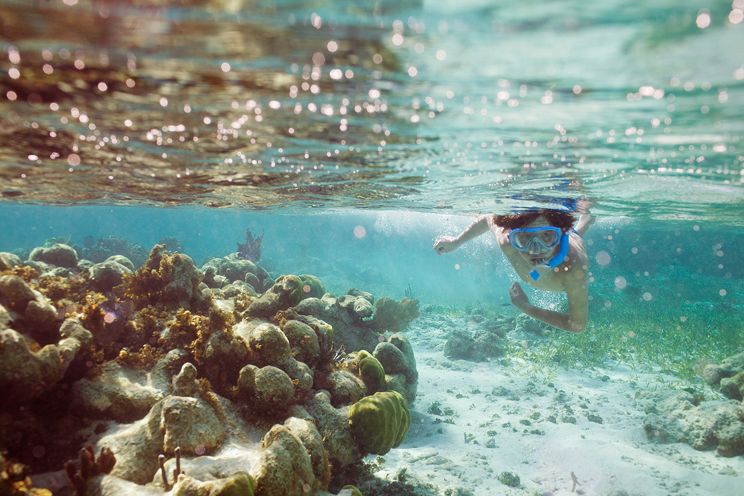Boy snorkelling on a reef in Belize