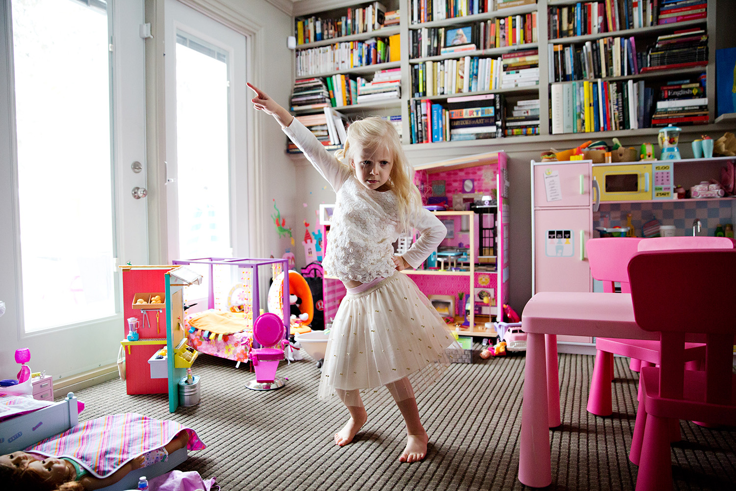 Disco dancing girl in her playroom