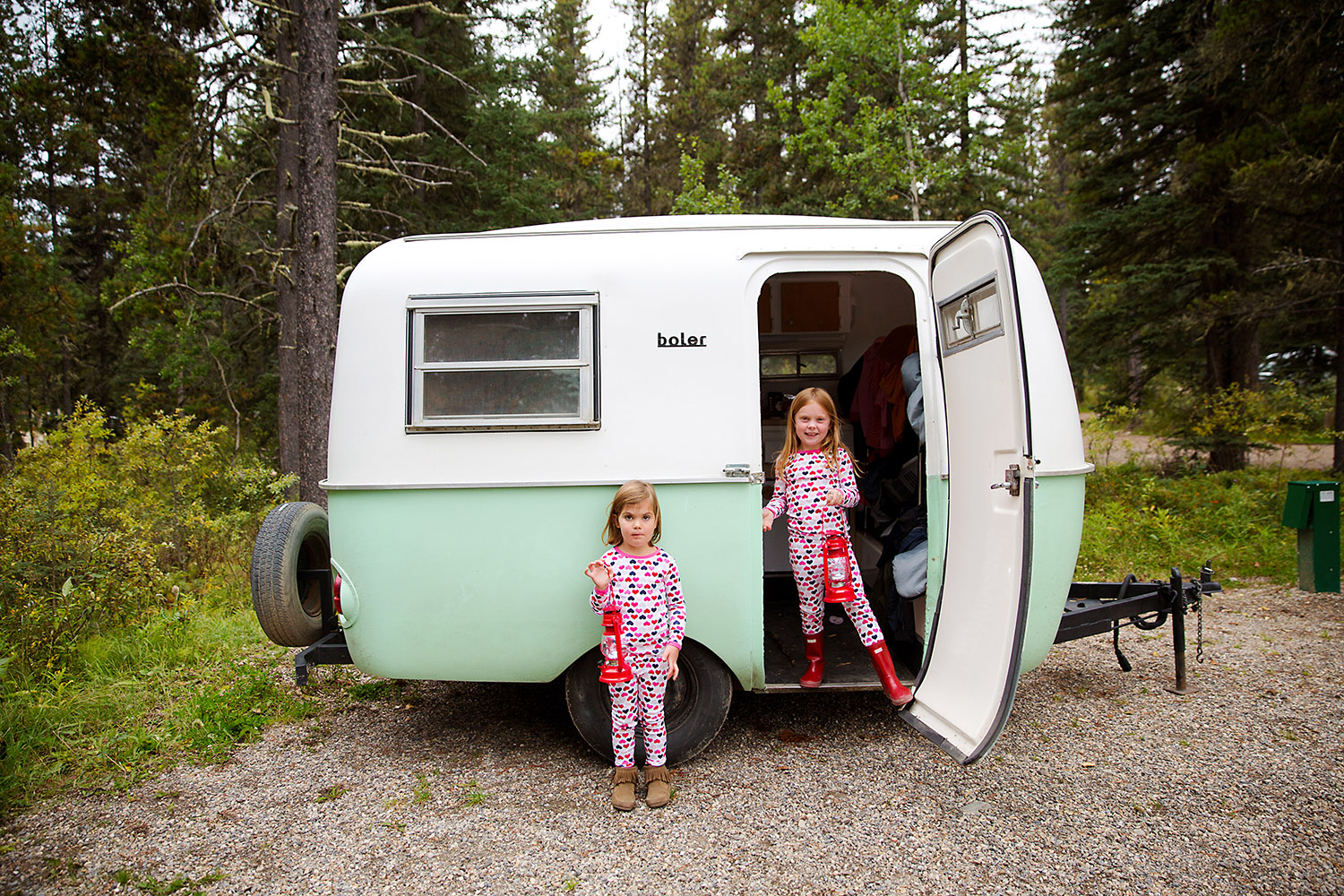 Kids in a Boler trailer