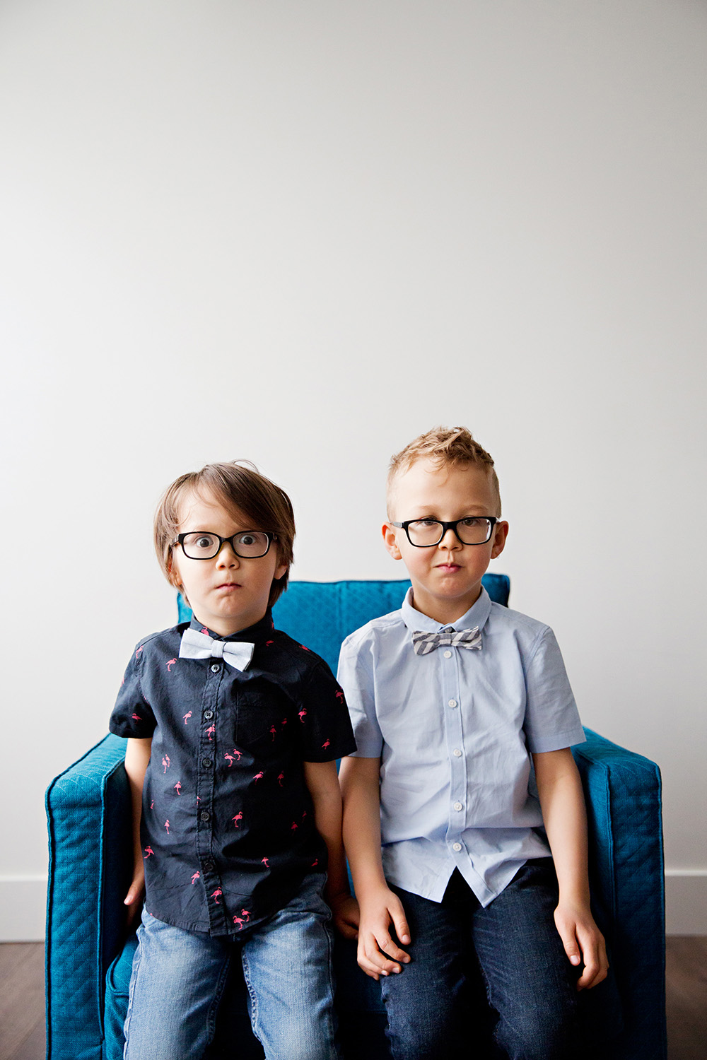 funny studio portrait of brothers in bow ties by Dana Pugh