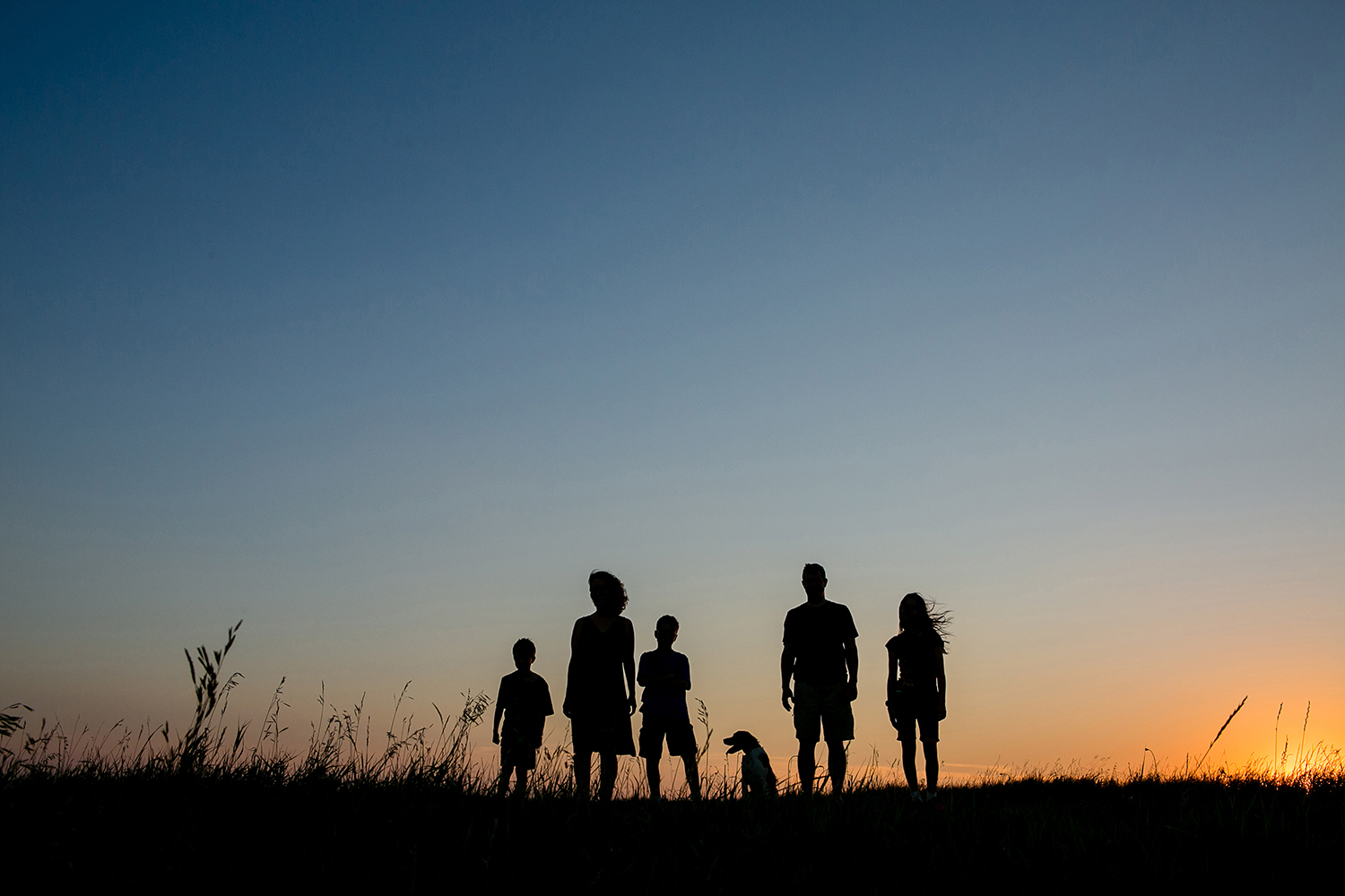 A silhouette portrait of a family with their dog