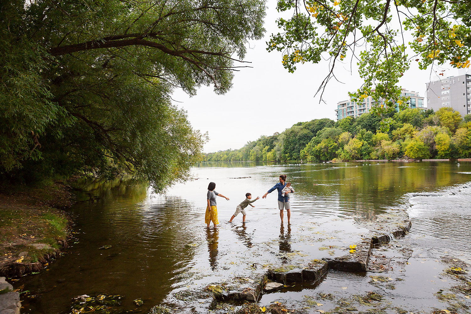 Family wading in the river in the Ottawa area